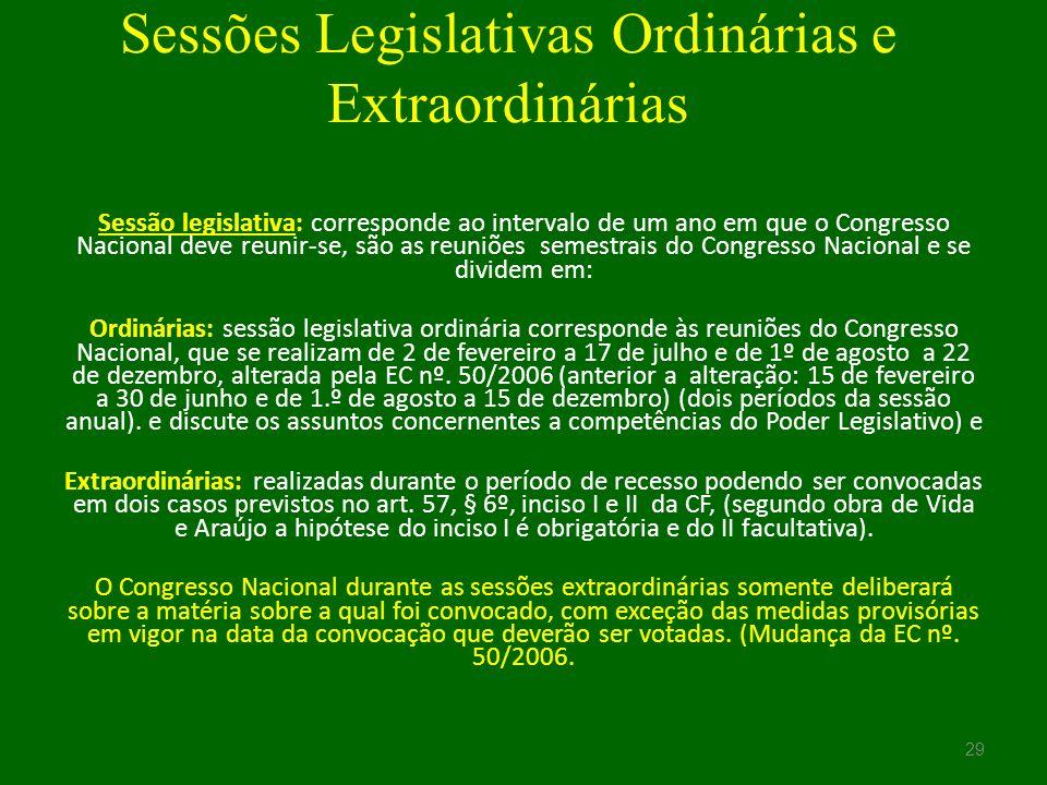 Sessões Legislativas Ordinárias e Extraordinárias
