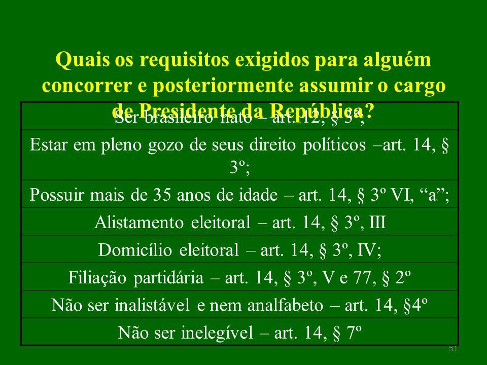 Quais os requisitos exigidos para alguém concorrer e posteriormente assumir o cargo de Presidente da República