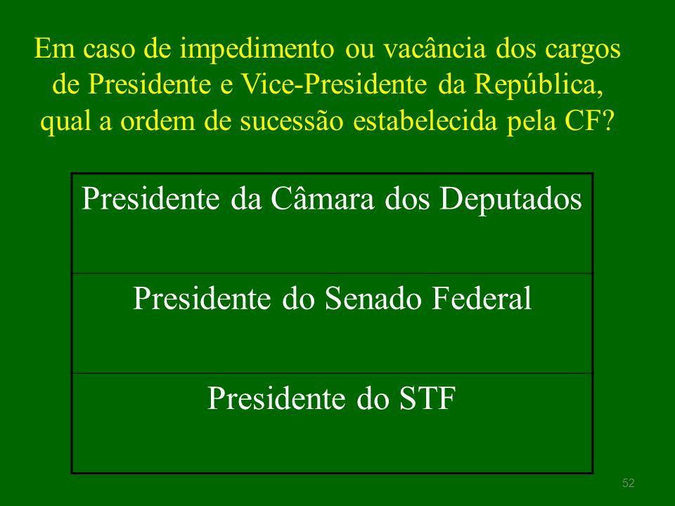 Presidente da Câmara dos Deputados Presidente do Senado Federal