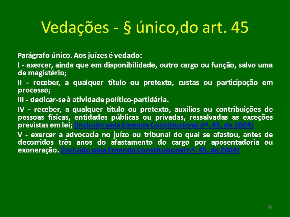Vedações - § único,do art. 45