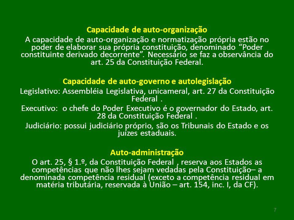 Capacidade de auto-organização A capacidade de auto-organização e normatização própria estão no poder de elaborar sua própria constituição, denominado Poder constituinte derivado decorrente .