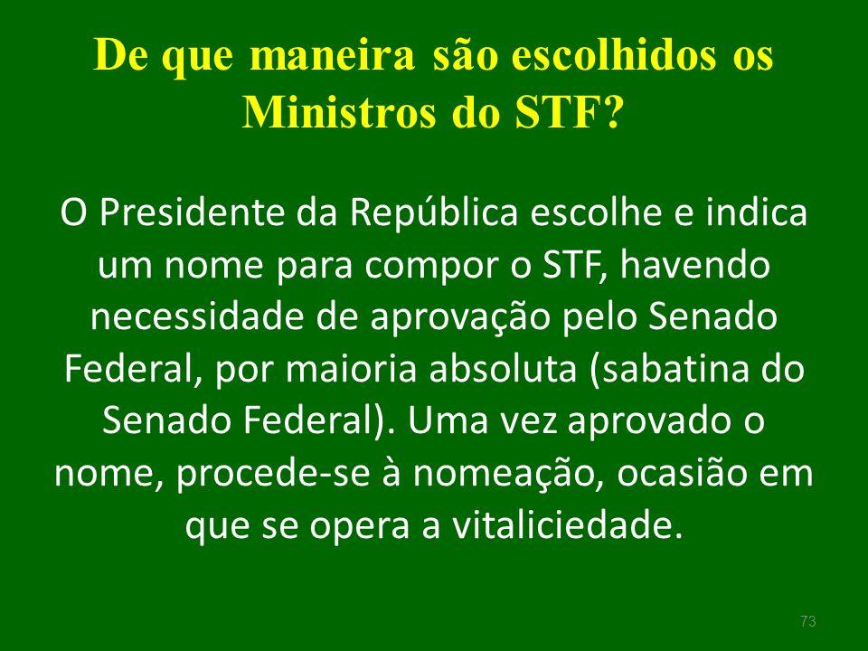 De que maneira são escolhidos os Ministros do STF