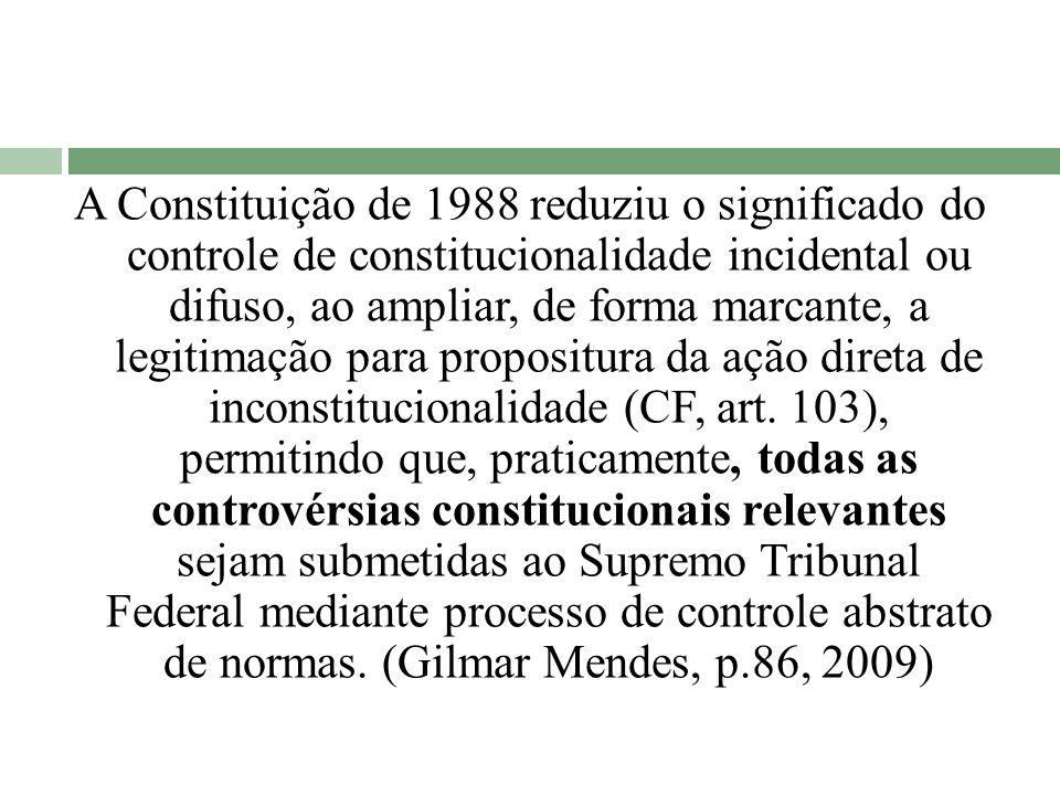 A Constituição de 1988 reduziu o significado do controle de constitucionalidade incidental ou difuso, ao ampliar, de forma marcante, a legitimação para propositura da ação direta de inconstitucionalidade (CF, art.