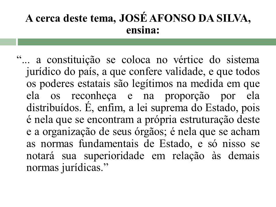 A cerca deste tema, JOSÉ AFONSO DA SILVA, ensina: