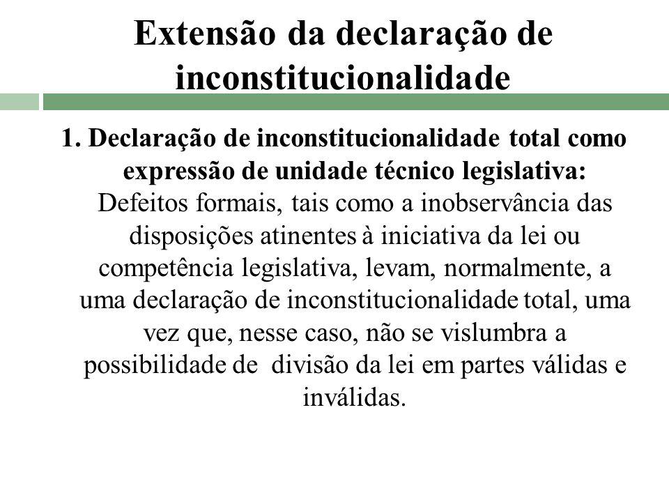 Extensão da declaração de inconstitucionalidade