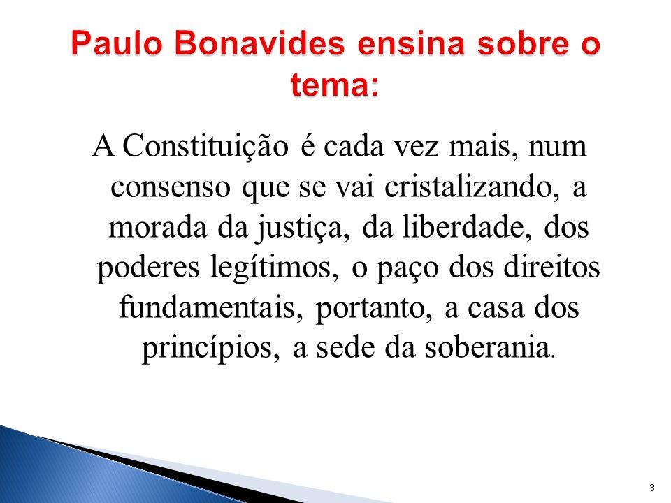 Paulo Bonavides ensina sobre o tema: