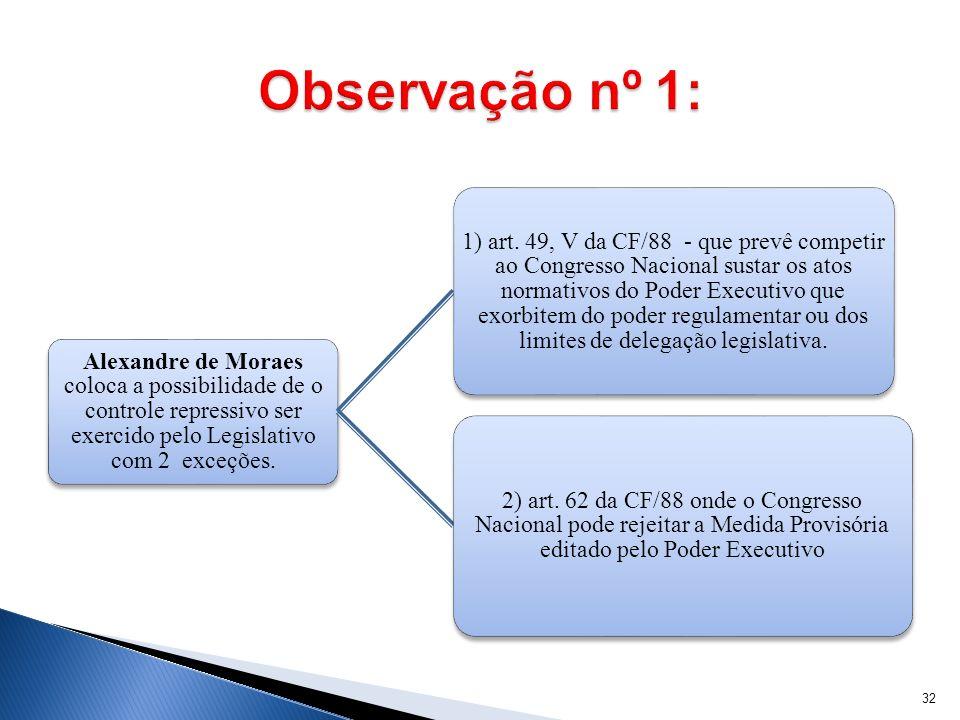 Observação nº 1: Alexandre de Moraes coloca a possibilidade de o controle repressivo ser exercido pelo Legislativo com 2 exceções.