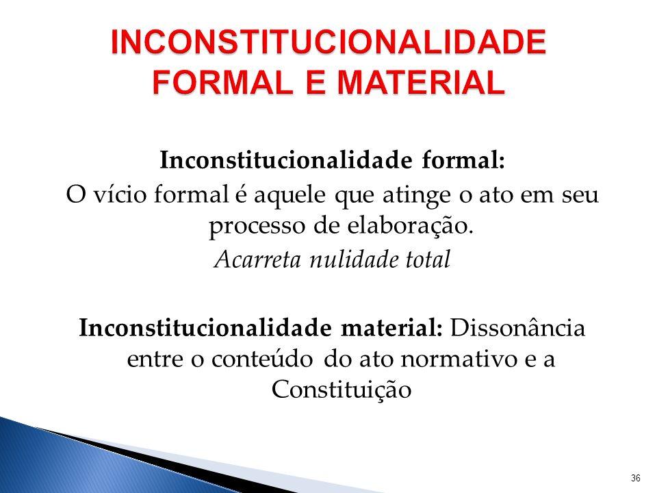 INCONSTITUCIONALIDADE FORMAL E MATERIAL