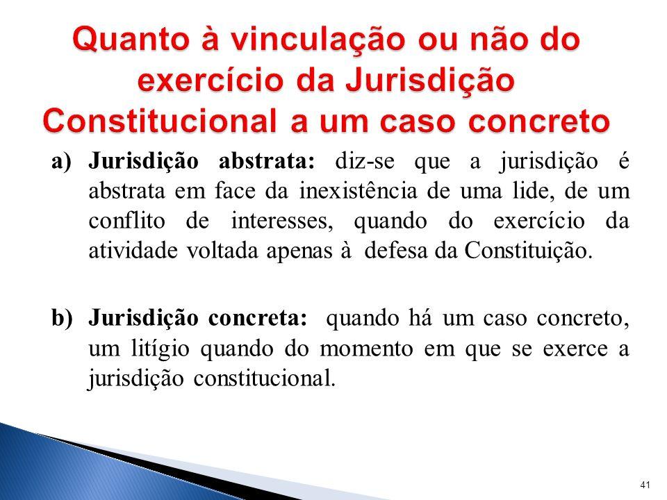 Quanto à vinculação ou não do exercício da Jurisdição Constitucional a um caso concreto