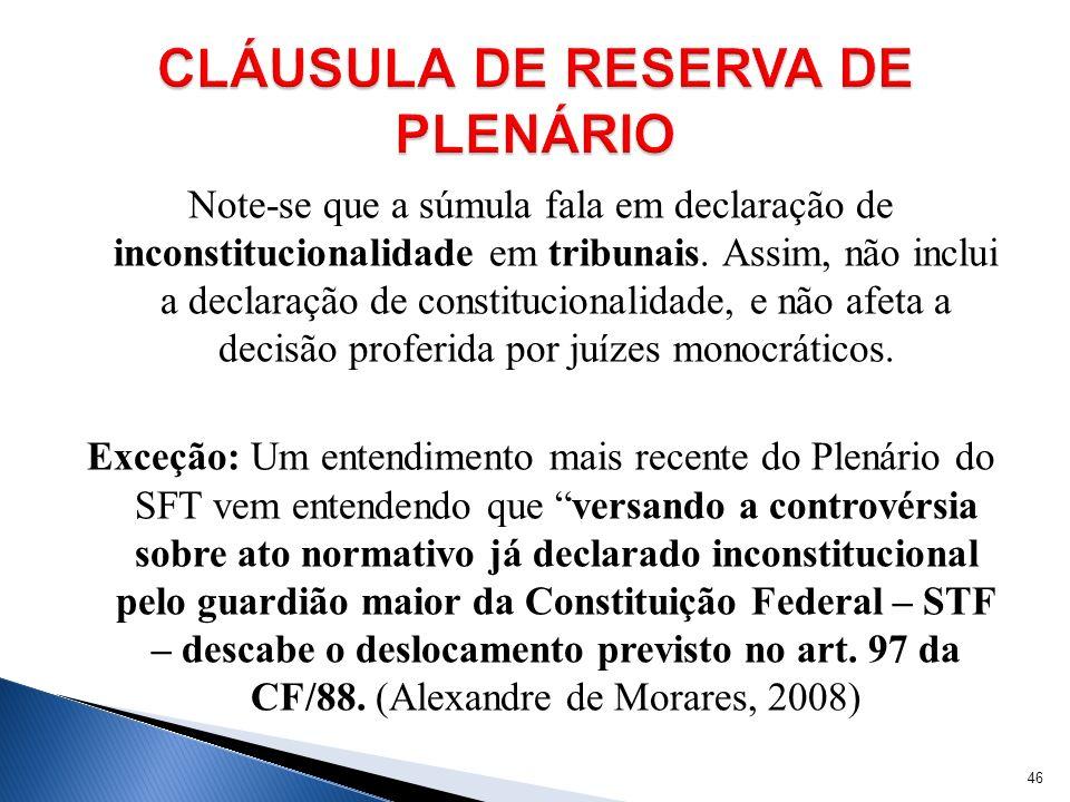 CLÁUSULA DE RESERVA DE PLENÁRIO