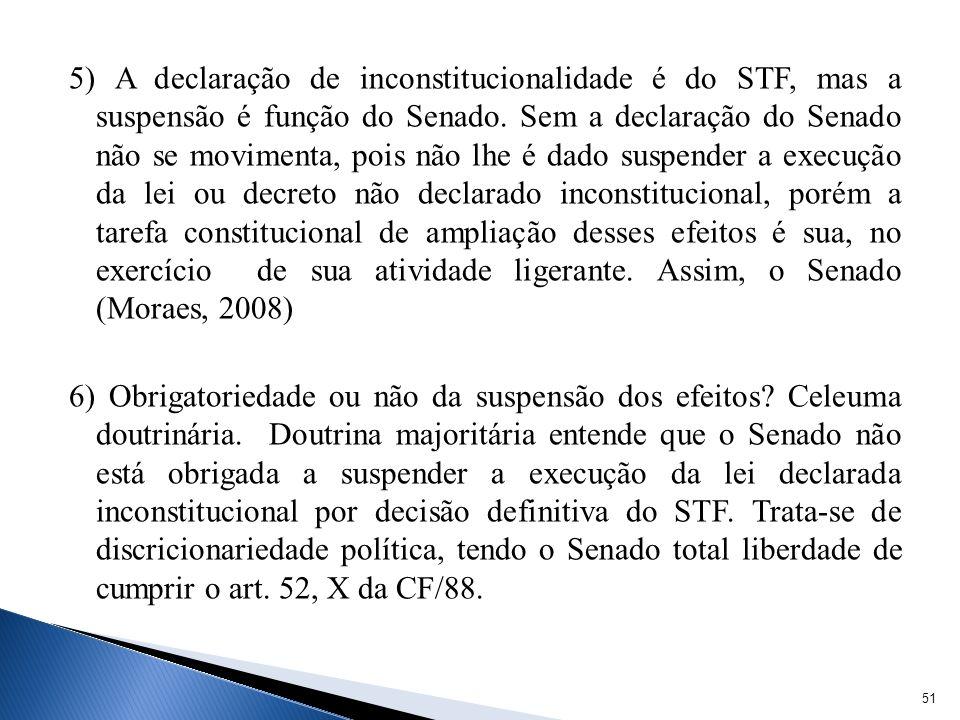 5) A declaração de inconstitucionalidade é do STF, mas a suspensão é função do Senado.