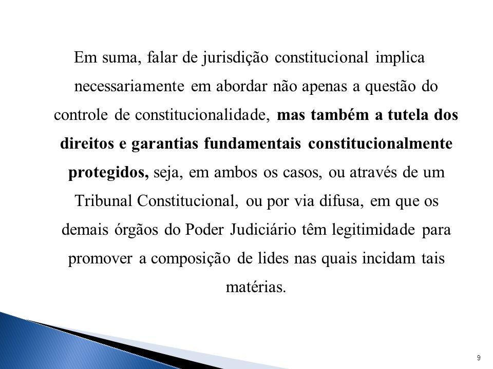 Em suma, falar de jurisdição constitucional implica necessariamente em abordar não apenas a questão do controle de constitucionalidade, mas também a tutela dos direitos e garantias fundamentais constitucionalmente protegidos, seja, em ambos os casos, ou através de um Tribunal Constitucional, ou por via difusa, em que os demais órgãos do Poder Judiciário têm legitimidade para promover a composição de lides nas quais incidam tais matérias.