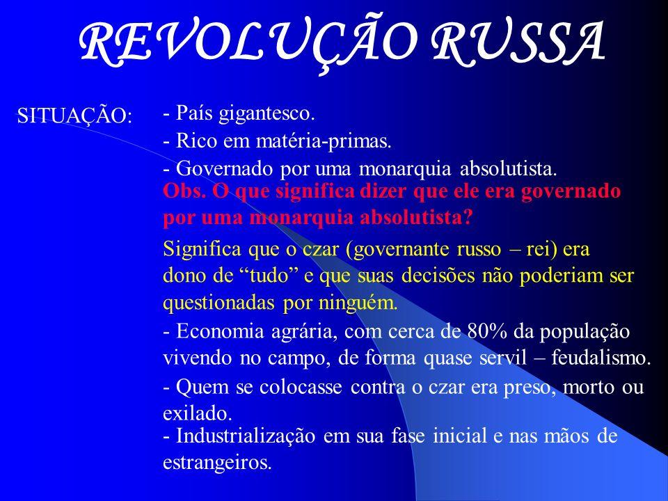REVOLUÇÃO RUSSA - País gigantesco. SITUAÇÃO: - Rico em matéria-primas.