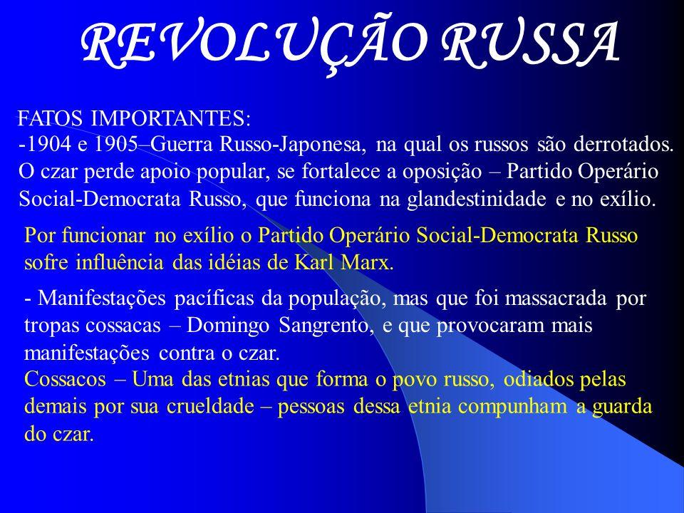 REVOLUÇÃO RUSSA FATOS IMPORTANTES:
