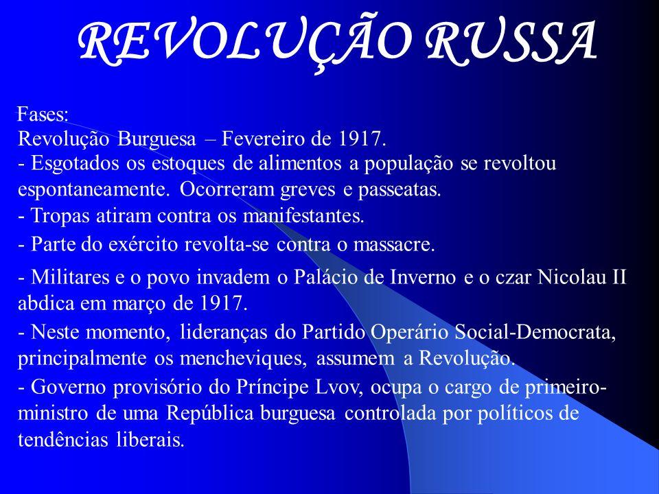 REVOLUÇÃO RUSSA Fases: Revolução Burguesa – Fevereiro de 1917.
