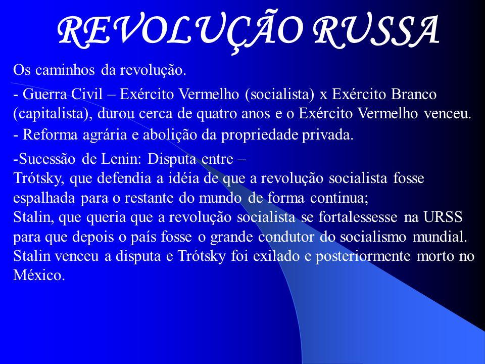 REVOLUÇÃO RUSSA Os caminhos da revolução.