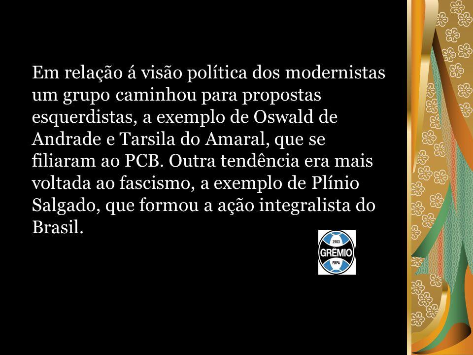 Em relação á visão política dos modernistas um grupo caminhou para propostas esquerdistas, a exemplo de Oswald de Andrade e Tarsila do Amaral, que se filiaram ao PCB.