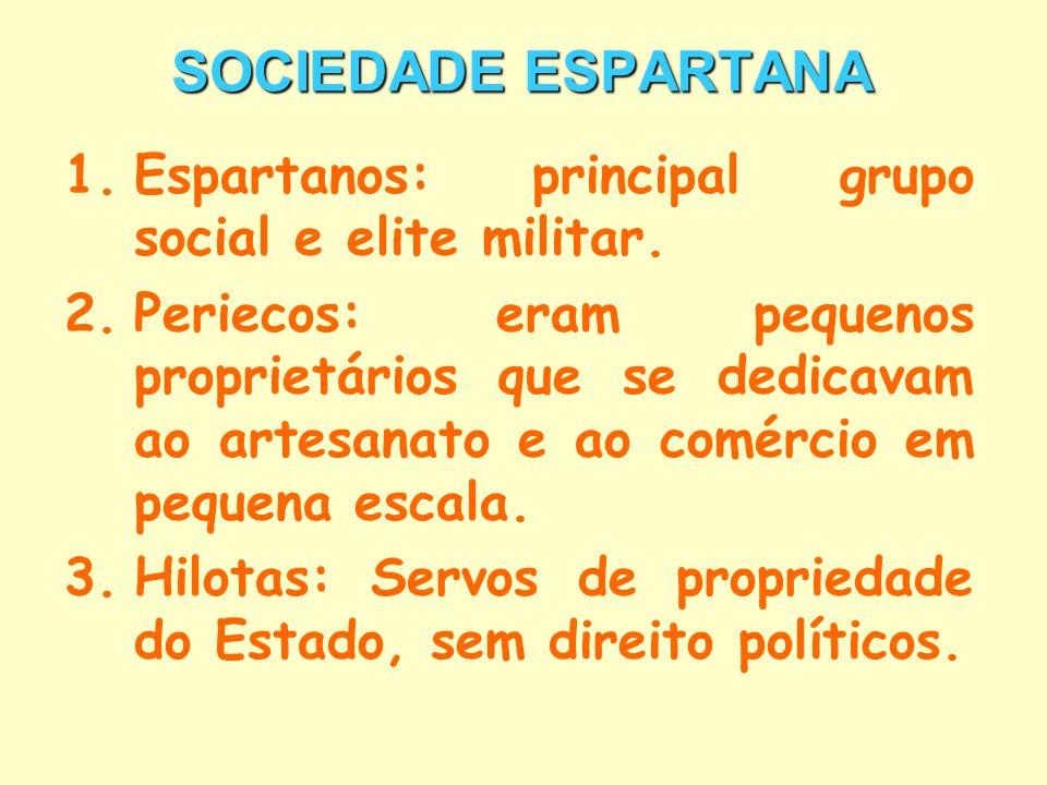 SOCIEDADE ESPARTANA Espartanos: principal grupo social e elite militar.
