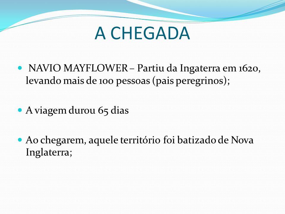 A CHEGADA NAVIO MAYFLOWER – Partiu da Ingaterra em 1620, levando mais de 100 pessoas (pais peregrinos);