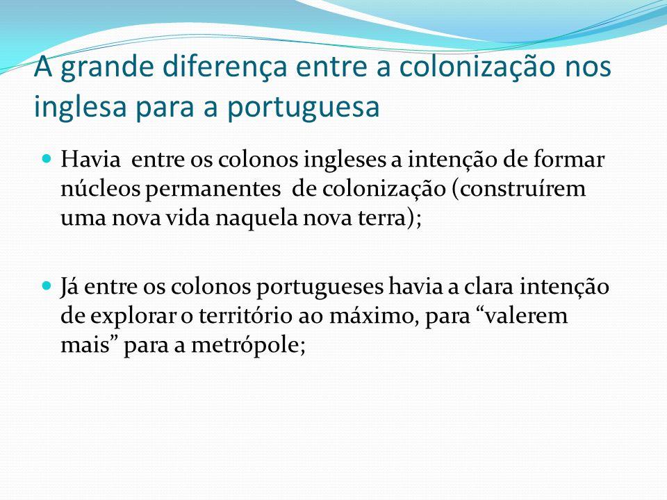 A grande diferença entre a colonização nos inglesa para a portuguesa
