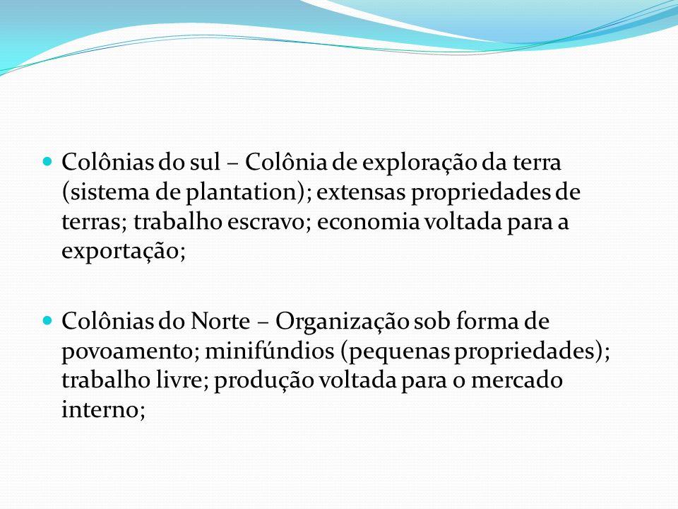 Colônias do sul – Colônia de exploração da terra (sistema de plantation); extensas propriedades de terras; trabalho escravo; economia voltada para a exportação;