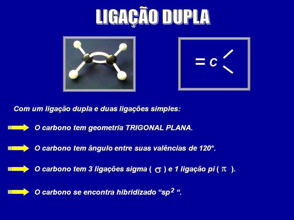 LIGAÇÃO DUPLA C s p Com um ligação dupla e duas ligações simples: