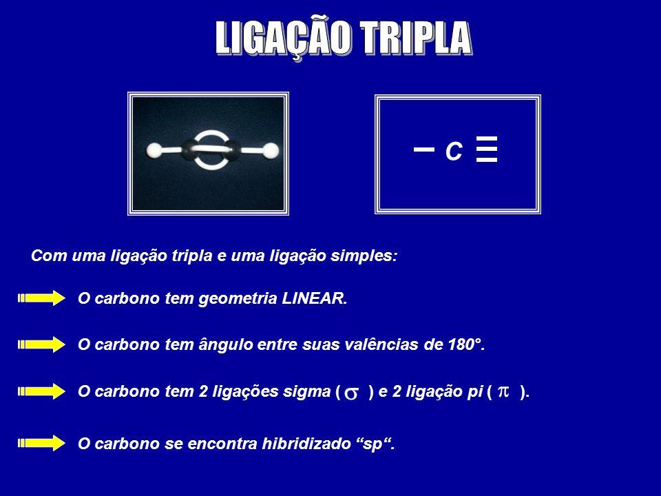LIGAÇÃO TRIPLA C s p Com uma ligação tripla e uma ligação simples: