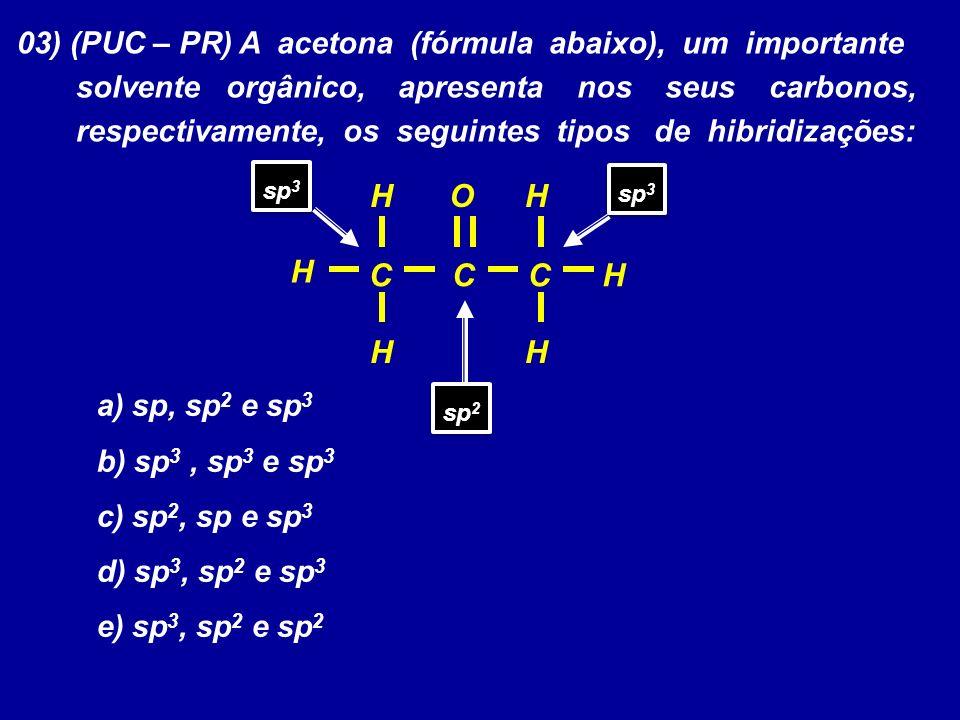 03) (PUC – PR) A acetona (fórmula abaixo), um importante