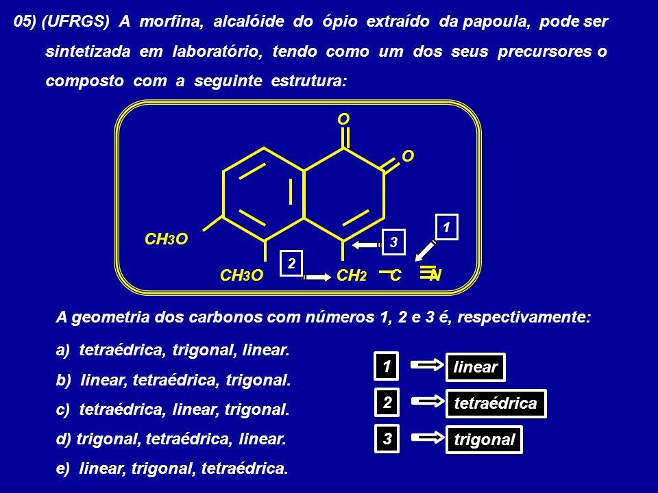 05) (UFRGS) A morfina, alcalóide do ópio extraído da papoula, pode ser