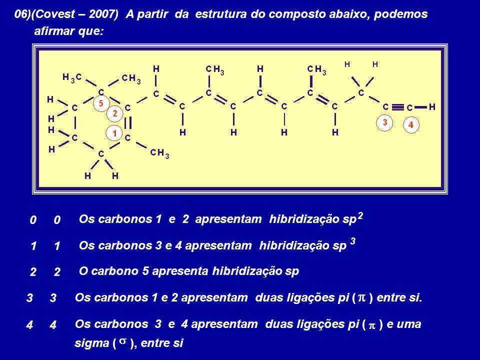 p 06)(Covest – 2007) A partir da estrutura do composto abaixo, podemos