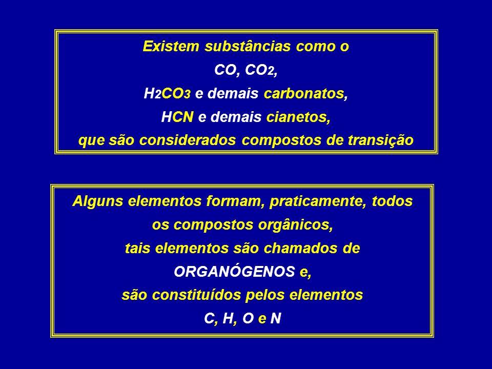Existem substâncias como o CO, CO2, H2CO3 e demais carbonatos,