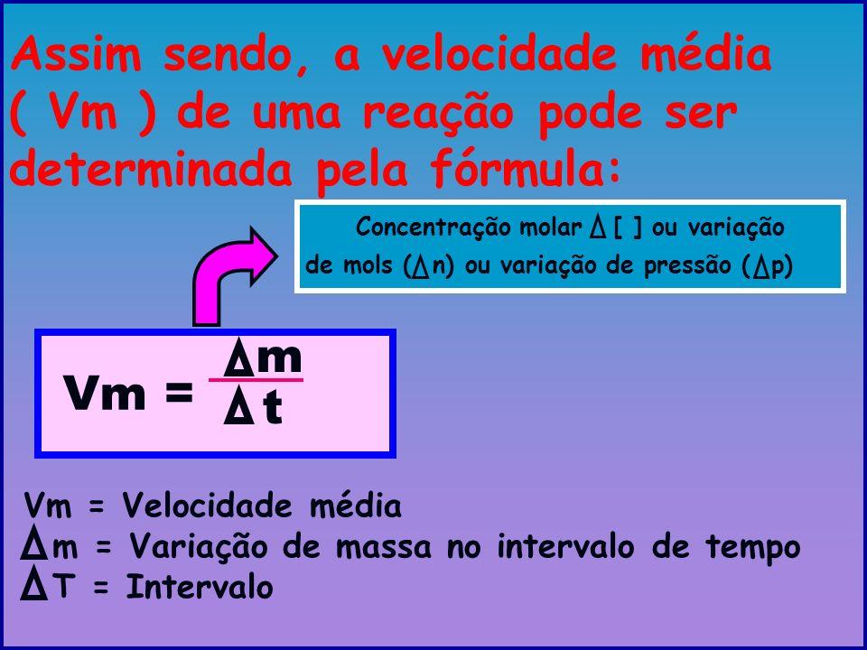 Assim sendo, a velocidade média ( Vm ) de uma reação pode ser