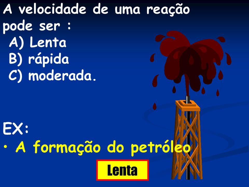 EX: A formação do petróleo A velocidade de uma reação pode ser :