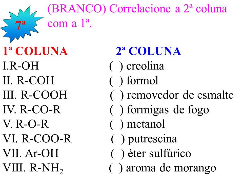 7ª (BRANCO) Correlacione a 2ª coluna com a 1ª. 1ª COLUNA 2ª COLUNA
