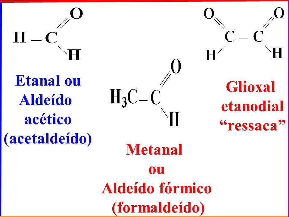 Glioxal etanodial. ressaca Etanal ou. Aldeído. acético. (acetaldeído) Metanal. ou. Aldeído fórmico.