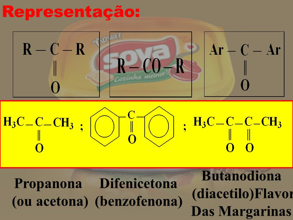 Representação: Propanona (ou acetona) Difenicetona (benzofenona)