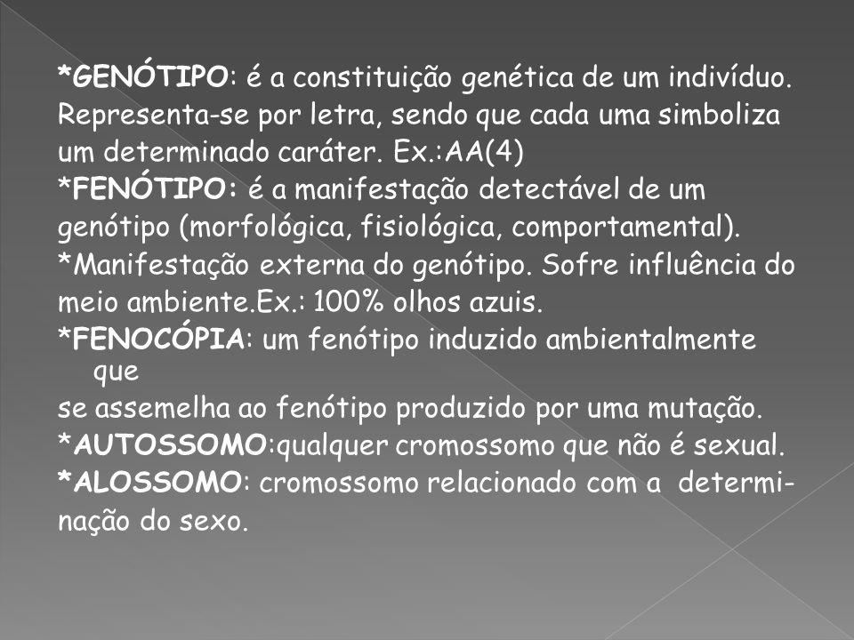 GENÓTIPO: é a constituição genética de um indivíduo