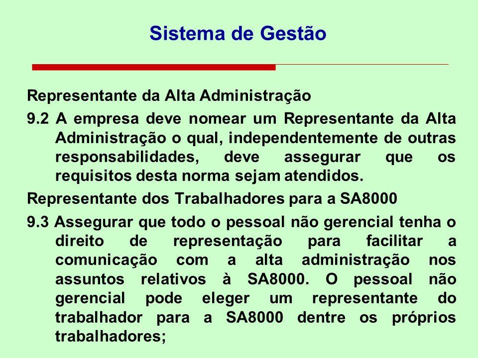 Sistema de Gestão Representante da Alta Administração