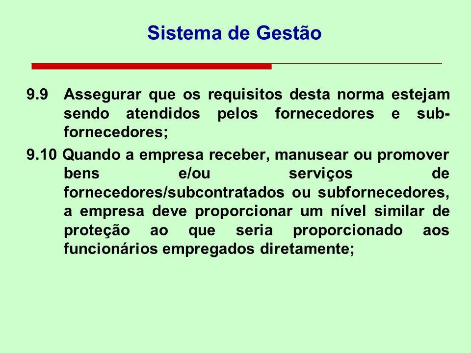 Sistema de Gestão 9.9 Assegurar que os requisitos desta norma estejam sendo atendidos pelos fornecedores e sub-fornecedores;