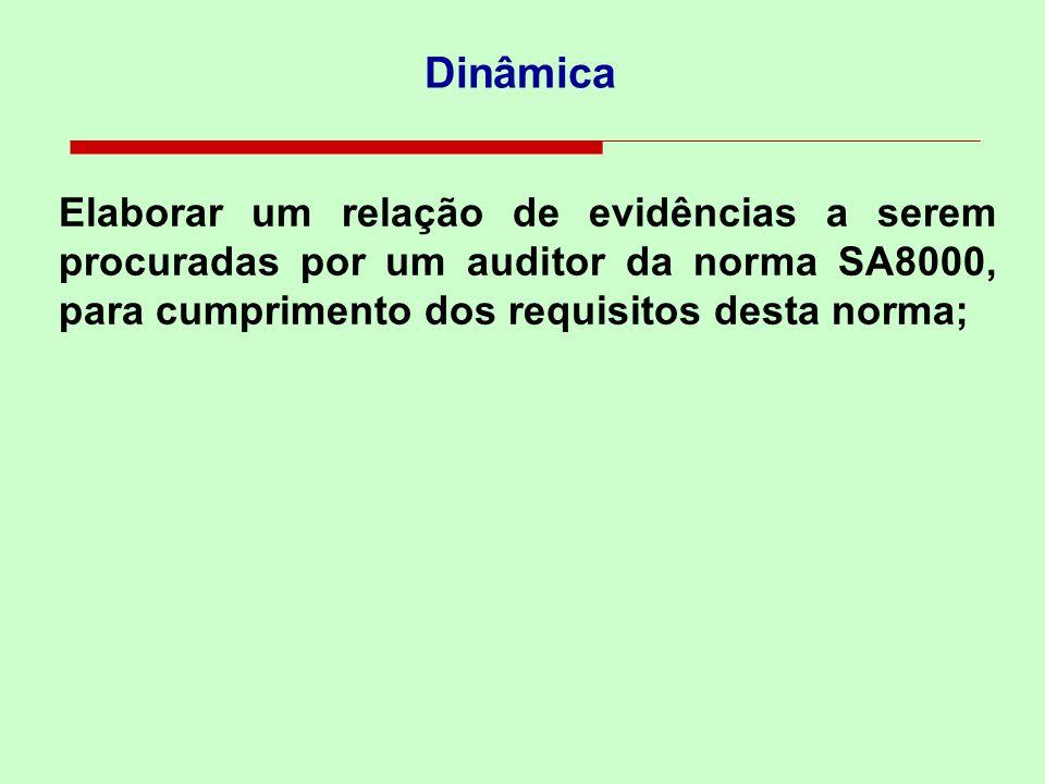Dinâmica Elaborar um relação de evidências a serem procuradas por um auditor da norma SA8000, para cumprimento dos requisitos desta norma;