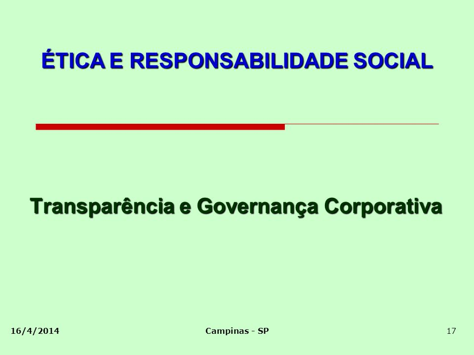 Transparência e Governança Corporativa