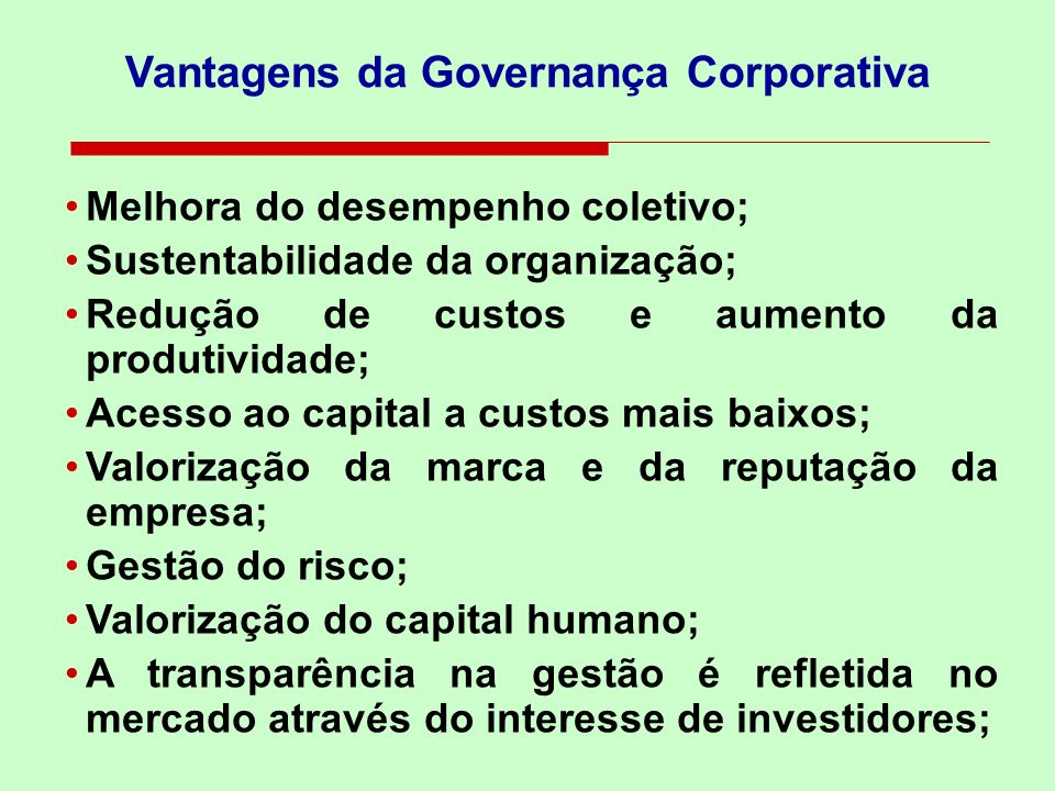 Vantagens da Governança Corporativa