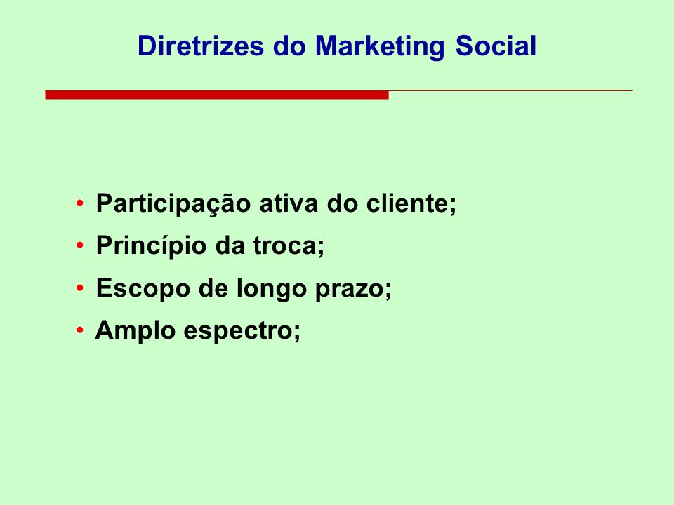 Diretrizes do Marketing Social