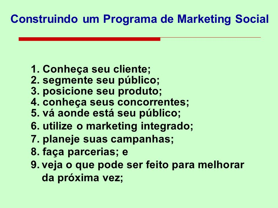 Construindo um Programa de Marketing Social