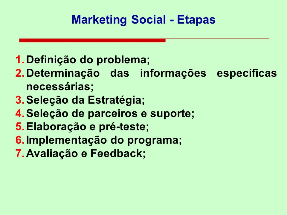 Marketing Social - Etapas