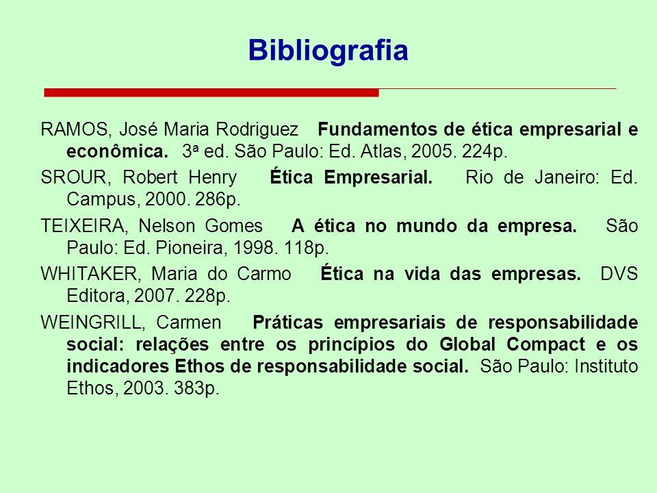 Bibliografia RAMOS, José Maria Rodriguez Fundamentos de ética empresarial e econômica. 3a ed. São Paulo: Ed. Atlas, 2005. 224p.