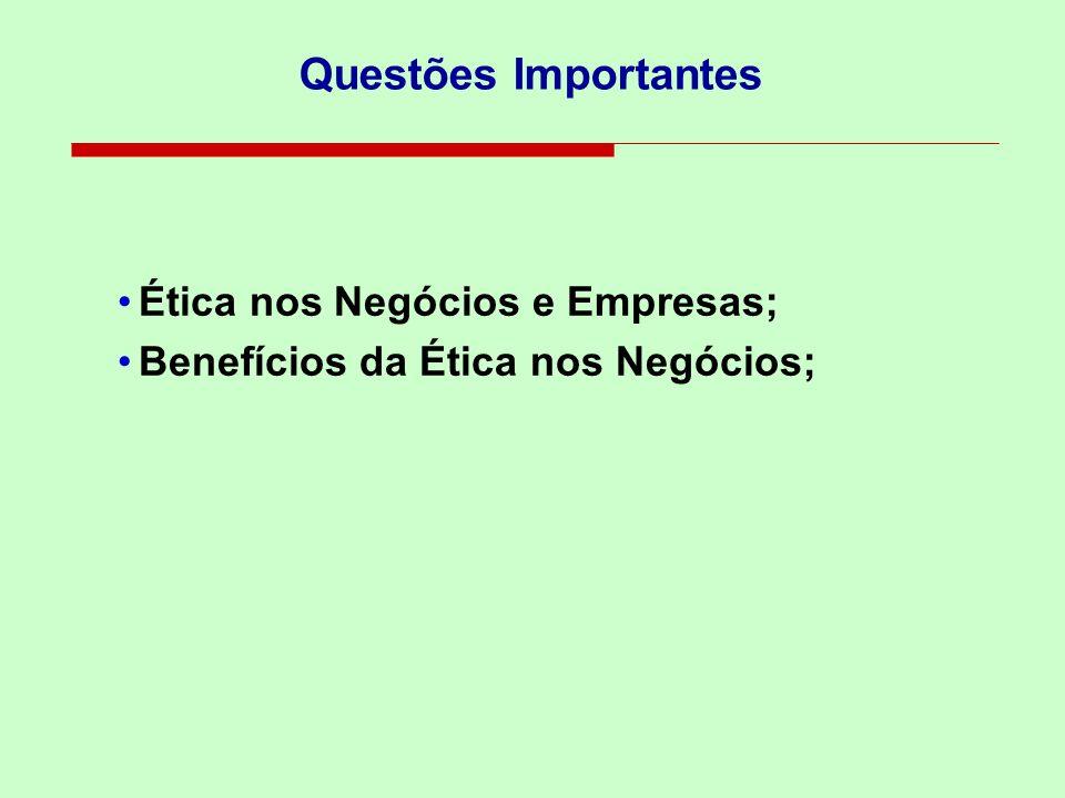Questões Importantes Ética nos Negócios e Empresas;