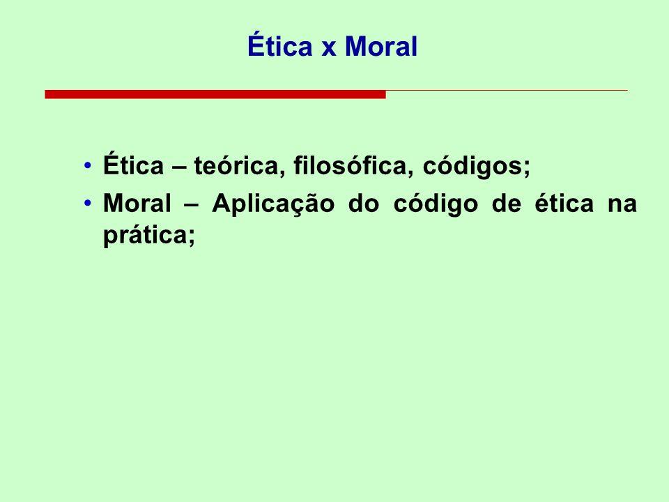 Ética x Moral Ética – teórica, filosófica, códigos;