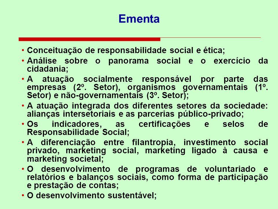 Ementa Conceituação de responsabilidade social e ética;