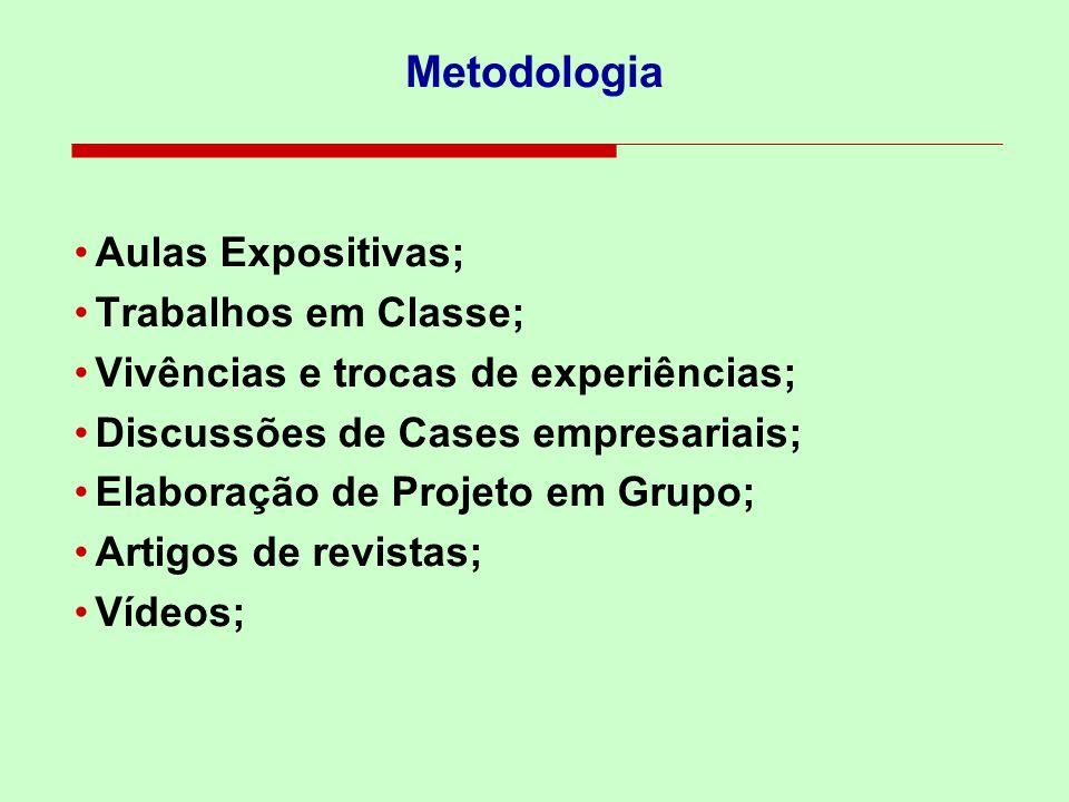 Metodologia Aulas Expositivas; Trabalhos em Classe;